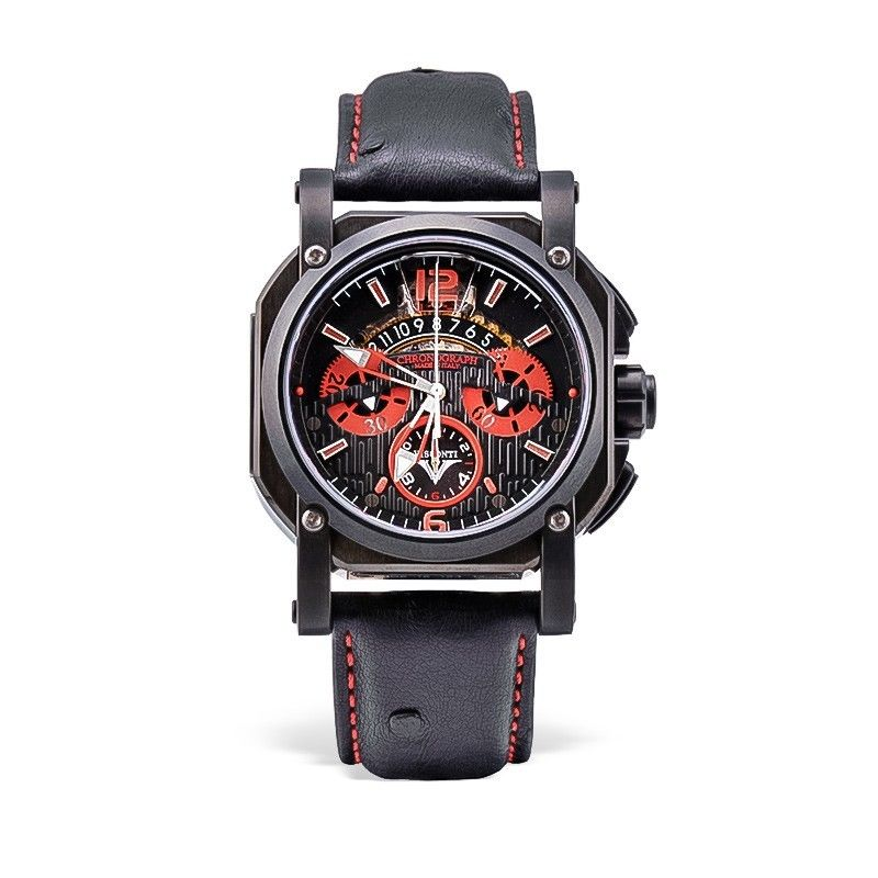Visconti Italy 2 Squared Chronograph Monza Red Stainless Steel Automatic Watch