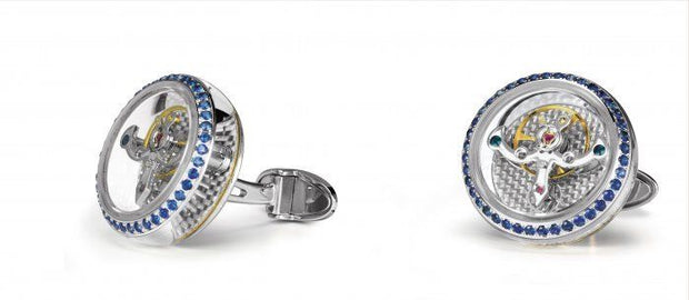 TF Est 1968 Tourbillon 18k 750 Solid White Gold Sapphire Silver Carbon Cufflinks-TF Est 1968-Truphae