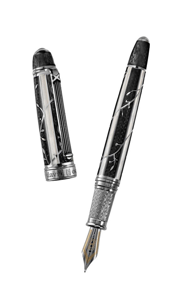 David Oscarson Limited Edition Trellis Collection Black Hard Enamel Fountain Pen