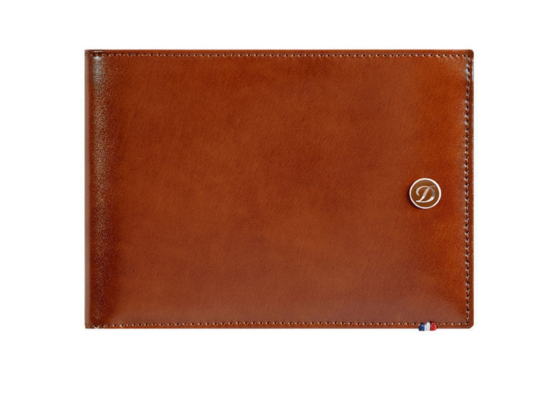 ST Dupont Line D Cognac Brown Leather 6cc Billfold Wallet ST180100