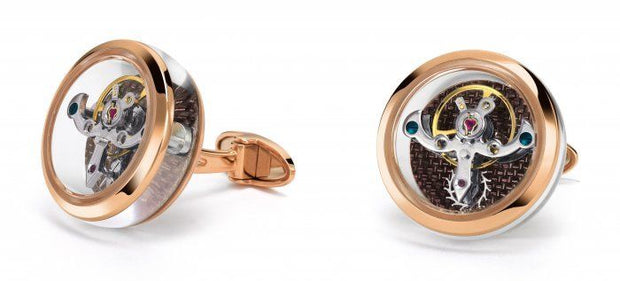 TF Est 1968 Tourbillon 18k 750 Solid Rose Gold & Chocolate Carbon Cufflinks-TF Est 1968-Truphae