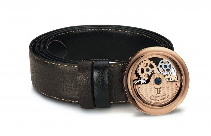 TF Est 1968 Rotor Caged Model Rose Gold Rotor Watch Themed Classic Belt Buckle