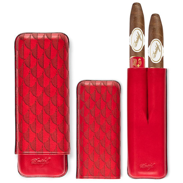 Davidoff Red Leather Curing Pattern XL-2 Double Two Cigar Case 102412-Davidoff-Truphae