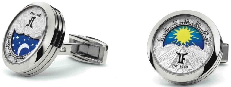 TF Est 1968 MoonPhase Stainless Steel Rotating Night & Day Disk Cufflinks Set