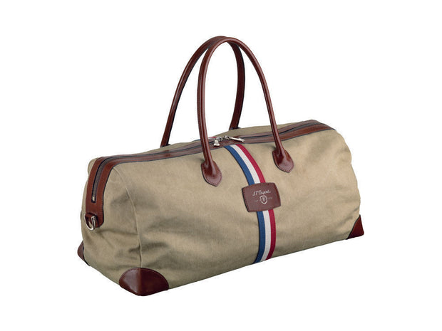 ST Dupont Iconic Cosy Brown Leather Cotton Cosy Weekender Bag ST191000SS-ST Dupont-Truphae