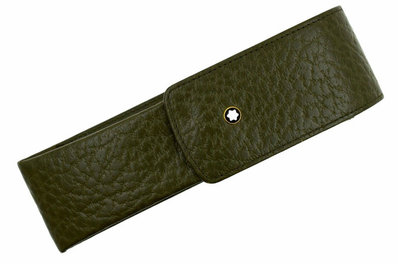 Montblanc Olive Military Green Leather Oblong 2 Pen Pouch Pochette Case 46107