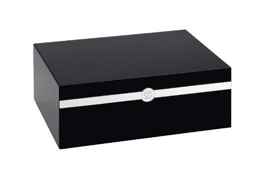 ST Dupont Black Lacquered Wood & Palladium Trim Humidor for 75 Cigars ST001282