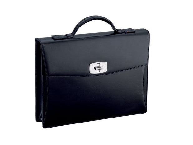 ST Dupont Line D Black Leather Flap Over One Divider Briefcase ST18100-ST Dupont-Truphae