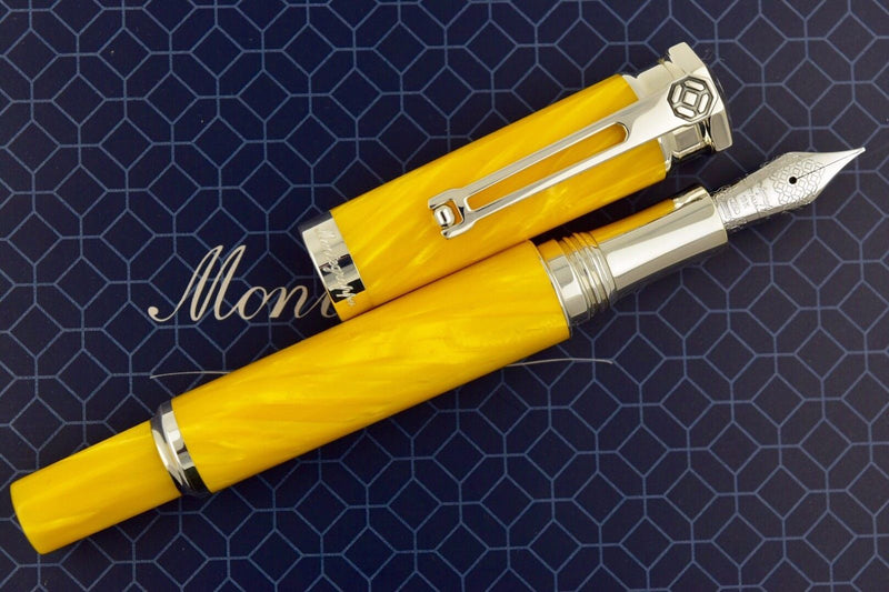 Montegrappa Emozione Yellow & Sterling Silver Trim Fountain Pen M Nib