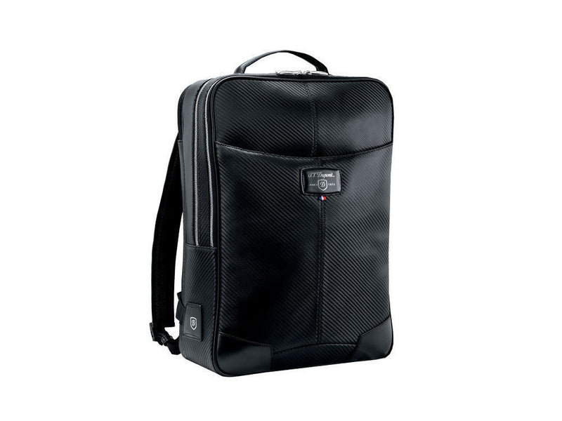 ST Dupont Defi Carbon Fiber Black Leather 3 Dividers Backpack ST171006