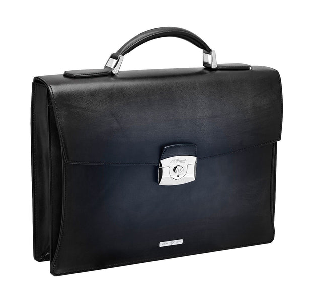 ST Dupont Atelier Collection Black Leather Single One Gusset Briefcase ST191240-ST Dupont-Truphae