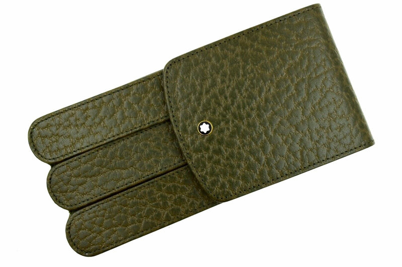 RARE Montblanc Olive Military Green Leather Glove 3 Pen Pouch Case Model 46102