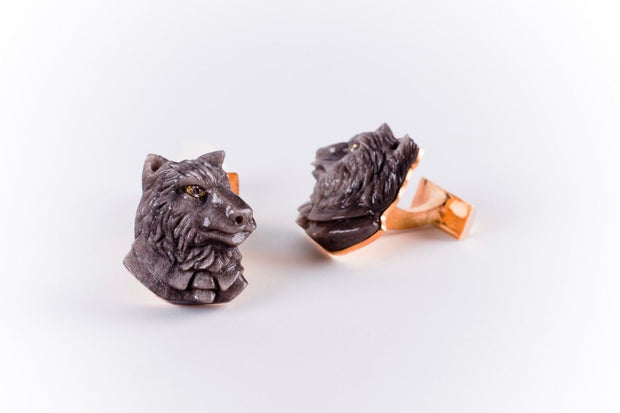 ST Dupont Stones of Fortune Investor Wolf Obsidian Limited Edition Cufflink Set-ST Dupont-Truphae