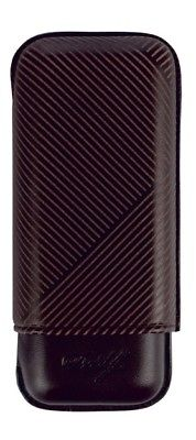 Davidoff Black Leather Leaf Pattern R-2 Robusto Double Two Cigar Case 105582-Davidoff-Truphae