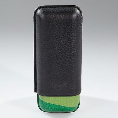 Davidoff Black & Green Leather Escurio Pattern XL-2 Double Two Cigar Case 100175