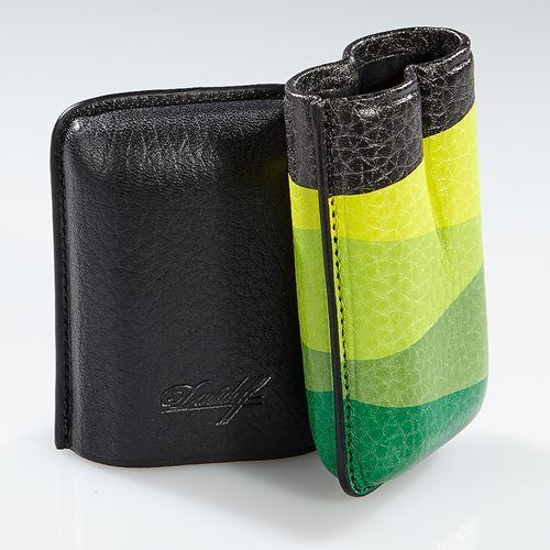 Davidoff Black & Green Leather Escurio Pattern R-2 Double Two Cigar Case 100177
