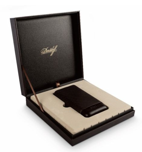 Davidoff Brown Leather Enjoyment Pattern R-2 Double Two Cigar Case 106768-Davidoff-Truphae