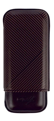 Davidoff Brown Leather Leaf Pattern R-2 Robusto Double Two Cigar Case 105585-Davidoff-Truphae