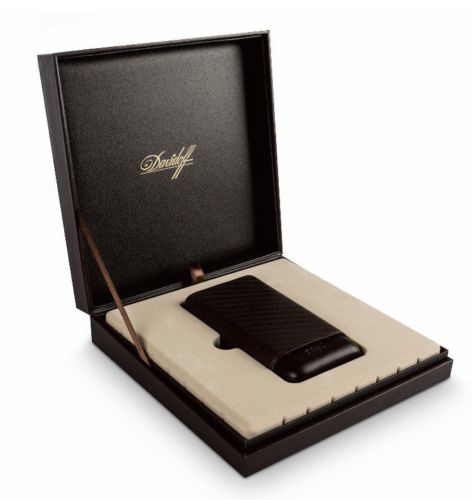 Davidoff Brown Leather Leaf Pattern R-2 Robusto Double Two Cigar Case 105585