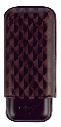Davidoff Brown Leather Curing Pattern R-2 Robusto Double Two Cigar Case 105588