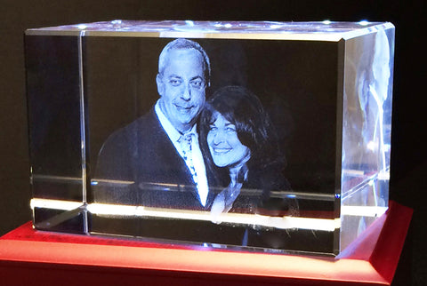 "Family Photo preserved inside a 3d Photocrystal 5""x3""x3"" crystal"