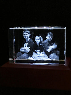 Family photo in 3D photo crystal 3 people full body inside a 5 Inch highly polished crystal