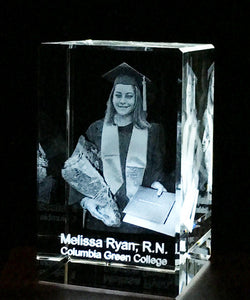 Photo in 3D inside an optical Crystal  celebrating the hard work of your Graduate!