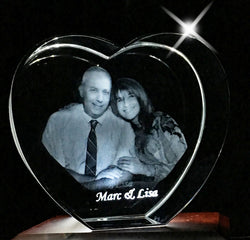 Heart 3D Photo Crystal! Perfect for engagements, weddings, anniversaries!