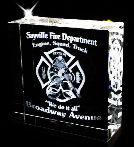 "Fire Dept, Police, EMS or your own custom Logo inside a highly polished 5""x5"" Crystal"