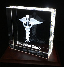 Square Crystal with Caduceus for your Medical Professional