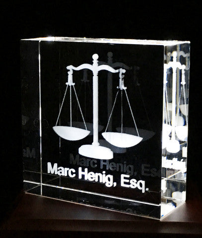 Square crystal with Scales of Justice for your Legal Professional