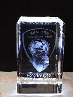 Fire Deparment themed 3D photo crystal