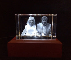 Photo in a 3D photo Crystal - Two people half body lasered inside an optical crystal with complimentary wording!