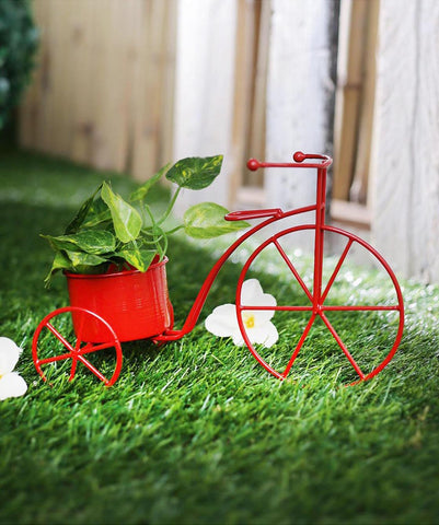Small Cycle Planter Red