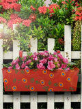 Handpainted Rectangle Planter Red