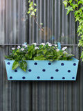 Polka Dot Rectangle Planter Blue