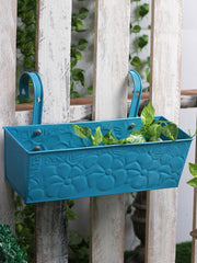 Embossed Rectangular Pot Blue