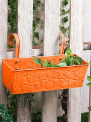 Embossed Rectangular Pot Orange
