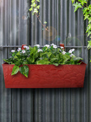 Embossed Rectangular Pot Red