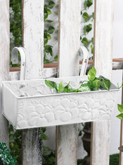 Embossed Rectangular Pot White