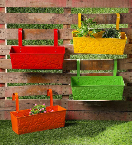 Set of Four 18'' Flower embossed Rectangle Planters