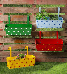 Set of Four 18'' Polka Dot Rectangle Planters