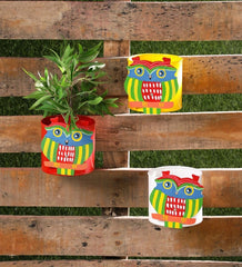 Set of Three Owl Railing planters