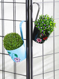 Set of Two Flower Embossed Railing Planter  Blue & Black