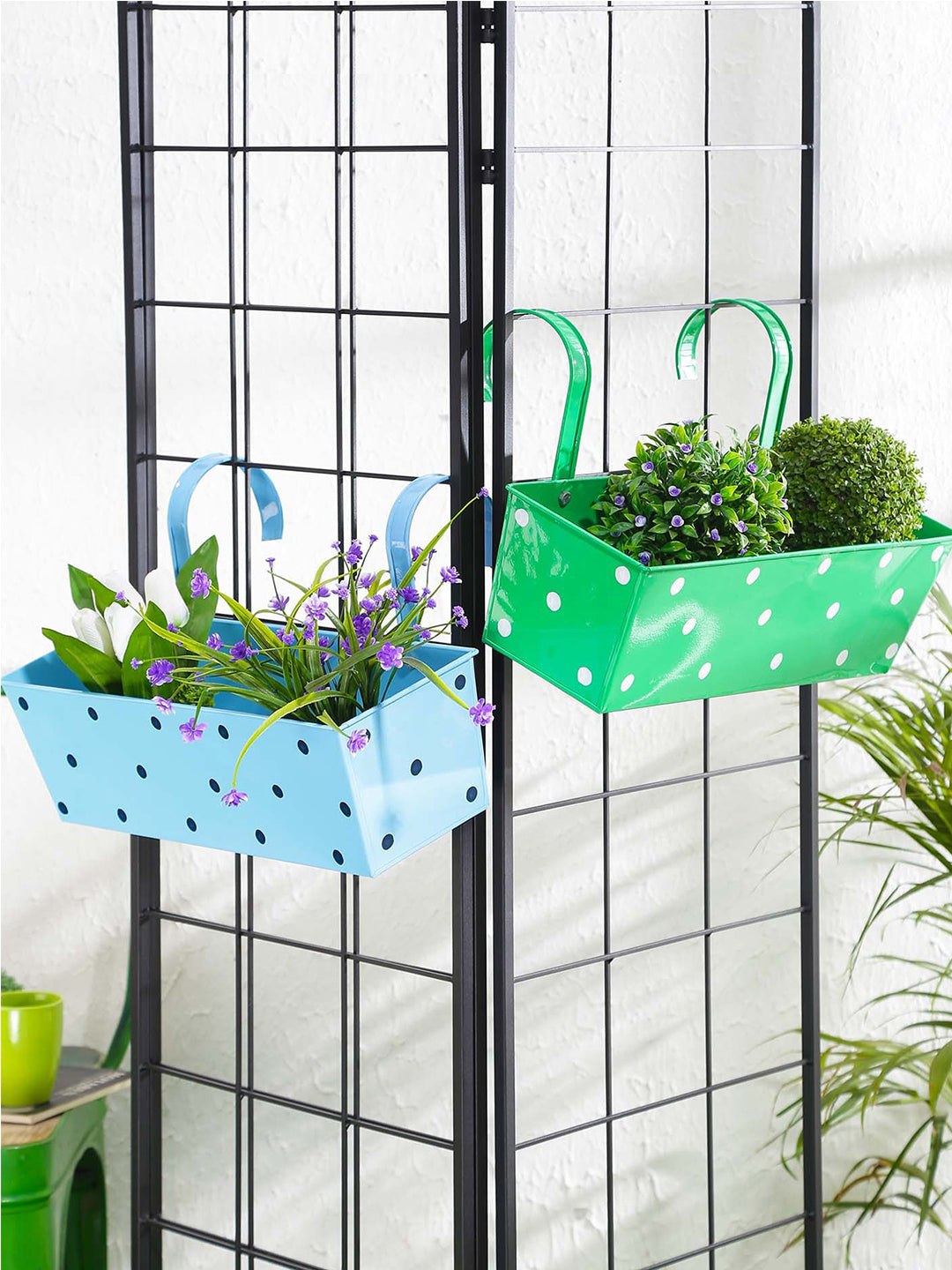 Set of two Polka Dot Rectangle Planter Blue & Green