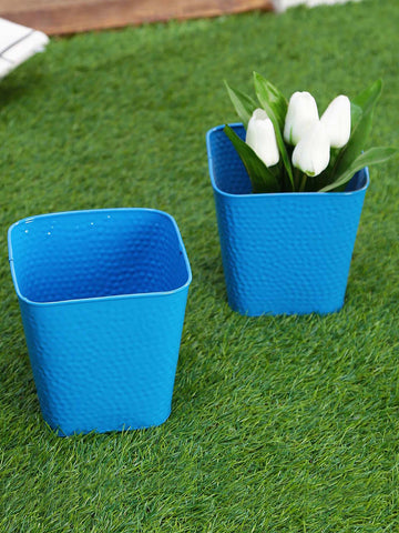 Set of Two Embossed Pot Blue