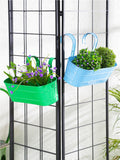 Set of two Oval Railing Planter Large Green & Blue