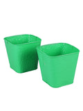 Set of Two Embossed Pot Green