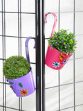 Set of Two Flower Embossed Railing Planter Pink & Purple