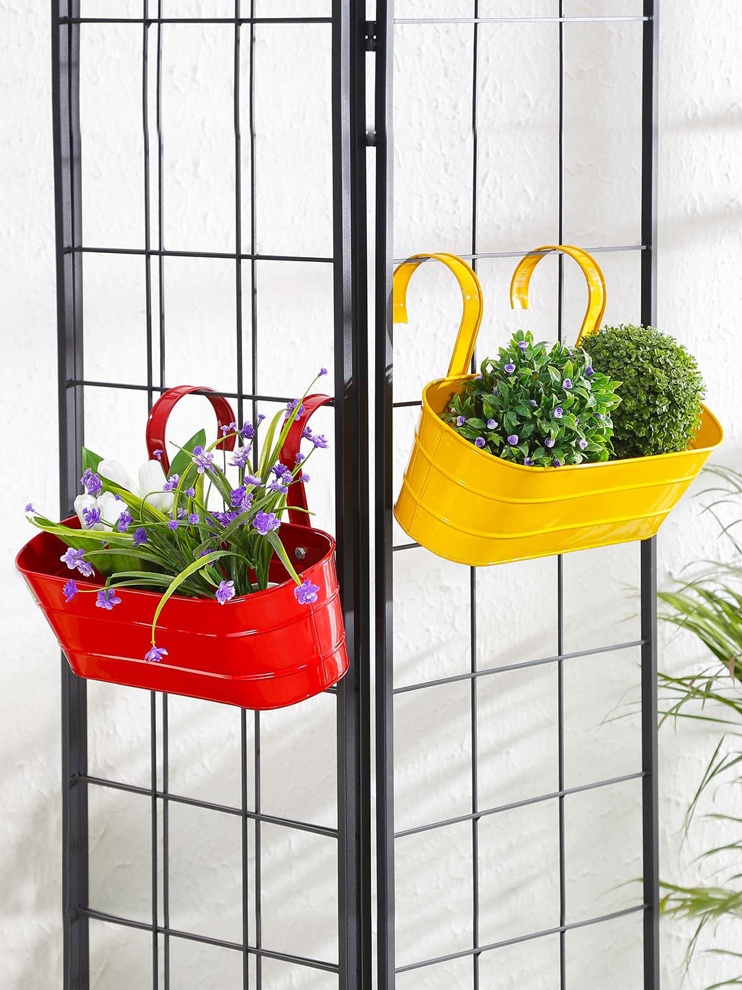 Set of two Oval Railing Planter Large Yellow & Red